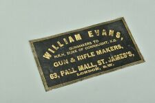 William Evans. Edwardian Gold Tooled Leather Shotgun Maker's Case Label. WIKJ