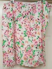 Talbots Woman's Plus Green/Pink/Yellow/Orange/Black Floral Skirt Size 22W