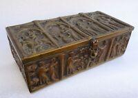 coffret en bronze de style gothique - décor de scènes bibliques