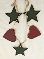 "Multicolor 4"" Wood Hearts & Stars on Twine Garland Decoration"