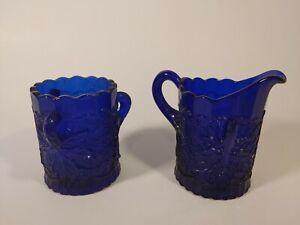 Vintage EAPG Mosser Cobalt Blue Glass Maple Leaf Creamer and Open Sugar