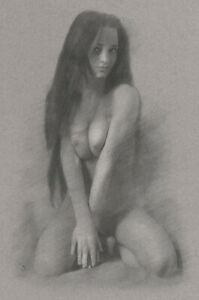 Female Nude ORIGINAL DRAWING Charcoal Fine Art Naked woman kneeling NO RESERVE
