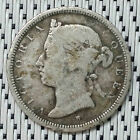 *Very Scarce* Straits Settlements - 1874H - 20 Cents Victoria Silver #CBLN