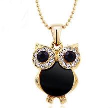 Art Deco,vintage style gold black owl charm necklace