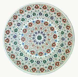 """36"""" Marble Dining Table Top Inlay Rare Semi Round Center Coffee Table AR0794"""