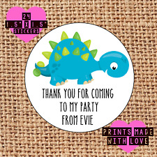 Personalised 24 dinosaur party bag stickers sweet cone labels thank you ank1