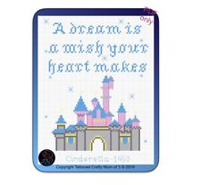 Disney Castle inspired Cinderella Quote Cross Stitch Pattern PDF Only