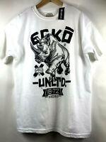 Ecko Unltd Mens L White with Big Rhino Graphic T-Shirt Logo Print Tee Size Large