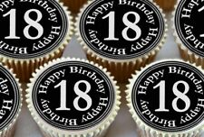 24 x 18TH BIRTHDAY BLACK AND SILVER EDIBLE CUPCAKE TOPPERS PREMIUM RICE PAPER 32