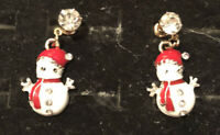 Betsey Johnson Snowman Earrings Crystal Rhinestone Enamel Post