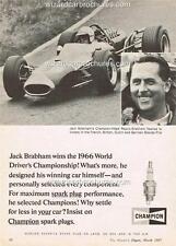 1966 SIR JACK BRABHAM CHAMPION A3 POSTER AD SALES BROCHURE ADVERTISEMENT ADVERT