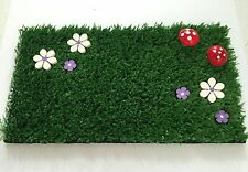 Fairy Garden Grass Purple Flowers & Toadstools - Perfect Fairy Door Accessory