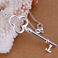 wholesale 925 Silver Plated key Pendant Necklace Chain 18 Inch Charm Jewelry