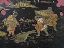 Rare Antique Japanese Edo Marine Scene Painting Lacquer Wall Rack Holder