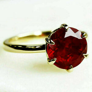 3Ct Round Cut Red Ruby Solitaire Engagement Ring Solid Real 14K Yellow Gold
