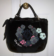 NWT Juicy Couture BEVERLY Large Velour Tote Bag BLACK Floral Embroidery YHRUS291