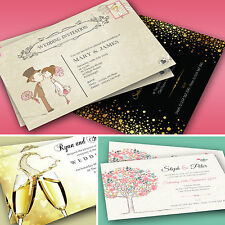 50 Personalised Wedding Day and Evening Invitations with Envelopes