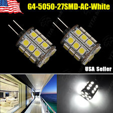 2x White 12v AC/DC G4 Base Disc Type Side Pin 5050 27SMD LED Halogen Replacement