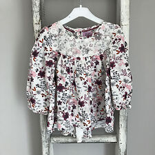Baby Girl Top Size 9-12 Months F&F White Purple Floral Garden Spring Summer Lace
