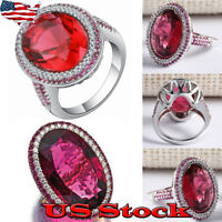 Hot Luxury Ruby Ring Women Men 925 Silver Wedding Engagement Gift Ring Size 6-10