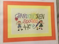 "GRANDCHILDREN SPOILED HERE Stamped Cross Stitch KIT 6.38"" X 4.13""  ARTISTE"
