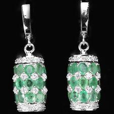 Ohrringe Smaragd & CZ 925 Silber 585 Weißgold