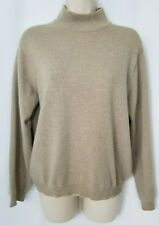 Talbots Sweater Small Pure Cashmere Beige Mock Neck Long Sleeve Pullover DEFECT
