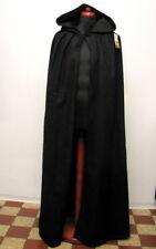 Wollumhang Bäres schwarz mit Kapuze Mittelalter LARP Umhang Mantel Wolle Cape