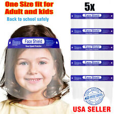 5Pcs Kids Boys Girls Face Shield Reusable Washable Safety Hd Clear Anti Fog Mask