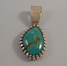 A.J. PLATERO - NAVAJO .925 STERLING SILVER ROYSTON TURQUOISE PENDANT