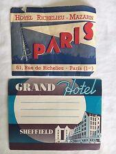 (2) Luggage Labels Grand Hotel Sheffield and Hotel Richelieu-Mazarin Paris