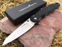TacticalGearz EDC Folding Knife, G10 Handle, 8CR13MOV Satin Straight Back Blade!