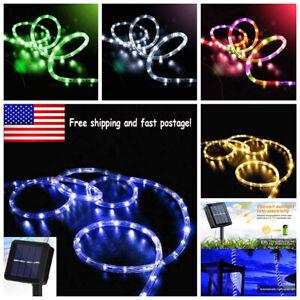 Solar Rope Lights Outdoor Tube Fairy String Lights Waterproof Garden Patio Decor