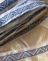 Antique Vintage Ribbon Blue White Organdy Sheer Trim Per 1 Yard Yardage