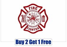 WHITE/RED Vinyl Decal Fire Fighter maltese Department sticker - GoGoStickers