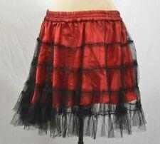 Red and Black Silky Net Skirt M/L Mini Tutu Moulin Rouge