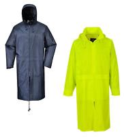 Portwest Classic Adult Long Rain Coat Zip Jacket Waterproof Pack Away Hood S438