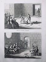 Martyr des Chrétiens 1844 Supplice du Fouet Atlas Écriture Sainte Rare Gravure