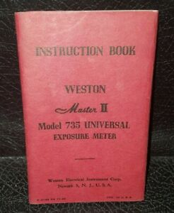 Weston master II model 735 universal exposure meter, instruction book