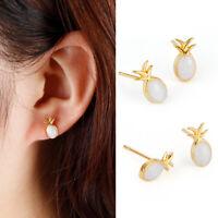 Women Silver Plated White Opal Jewelry Fruit Pineapple Wedding Ear Stud Earrings