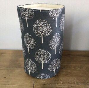 Handmade Toilet Roll Storage Tub Basket Mulberry Tree Grey Linen Mix Fabric