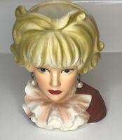 Vintage Lady Head Vase Relpo Japan K1817 Ruffled Blouse Pearls Blonde Blond