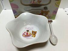 Rilakkuma Set of Dessert Bowl & Spoon w/ Gift Box, Ceramic, Kawaii San-X Japan