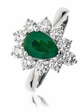Emerald Not Enhanced White Gold SI1 Fine Diamond Rings