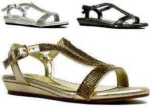 NEW FASHION LOW WEDGE HEEL DIAMANTE OPEN TOE BUCKLE SUMMER PARTY SANDAL UK SIZE