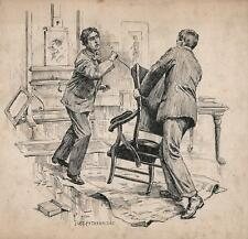 ARTISTS STUDIO KNIFE ATTACK Pen & Ink Drawing JOHN LEY PETHYBRIDGE c1895