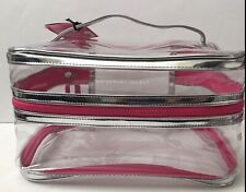 Victoria's Secret Bombshell Blowout Train Case Makeup Bag Clear Hot Pink NWT New