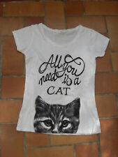 T-shirt blanc imprimé chat Cache Cache All you need is a cat taille 1 pur coton