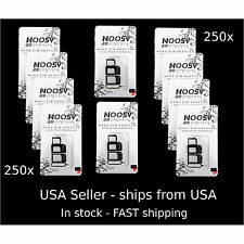 250 X iPhone 5S  5 4 6 NOOSY 3 Nano SIM to Micro SIM / Standard SIM Card Adapter