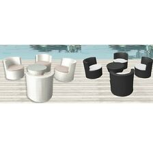 Set 4 poltrone bianco marrone cuscino tavolino arredo rattan moderno giardino|6s
